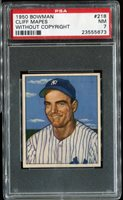 1950 Bowman #218 Cliff Mapes without Copyright PSA 7