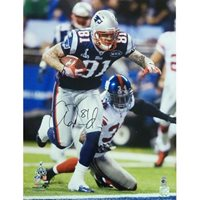 1ab2101cd25 Aaron Hernandez Autographed New England Patriots (Blue Jersey) 16x20 Photo  - AH Holo