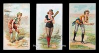 """Exceptional 1892-1894 N360 Venable and Little Rhody """"Girl Players Baseball Scenes"""" Tobacco Cards (3 Different) Including Two Rare """"Schedule Back"""" Examples"""