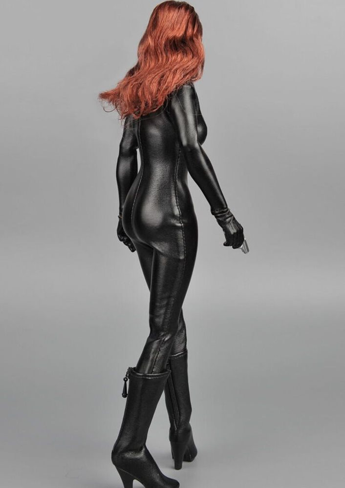 1//6 Scale One Piece Black Leather Jumpsuit For 12/'/' Female Figure Doll ❶USA❶