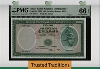 1000 Escudos 1968 Thailand Timor Banco Nacional Ultramarino Pmg 66 Epq Gem Unc