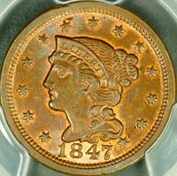 1847 1c Braided Large Cent PCGS MS65 BN