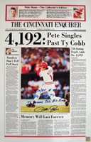 "Signed Pete Rose and Ty Cobb Photo - with "" 15x24 Newspaper Cover "" Inscription - Autographed MLB Photos"