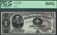 Fr.-347 1890 $1 Treasury Large Brown Seal #A975* PCGS-58PPQ