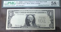 1969 B $1 Missing Print Error FRN Fr 1905-B PMG 58 EPQ P-72