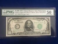 1934 $1000 Fr.2211 C DGS PMG 50 Philadelphia Choice AU-Stunner&Scarce High Grade