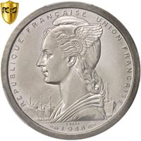 [#96581] French Somaliland, 2 Francs, 1948, Paris, PCGS, SP63, Piedfort