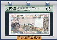 5000 Francs 1989 West African States / Senegal Pop One Pmg 65 Epq