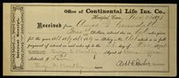 Obsolete Bank Check Continental Life Insurance Company 1873 Hartfod CT