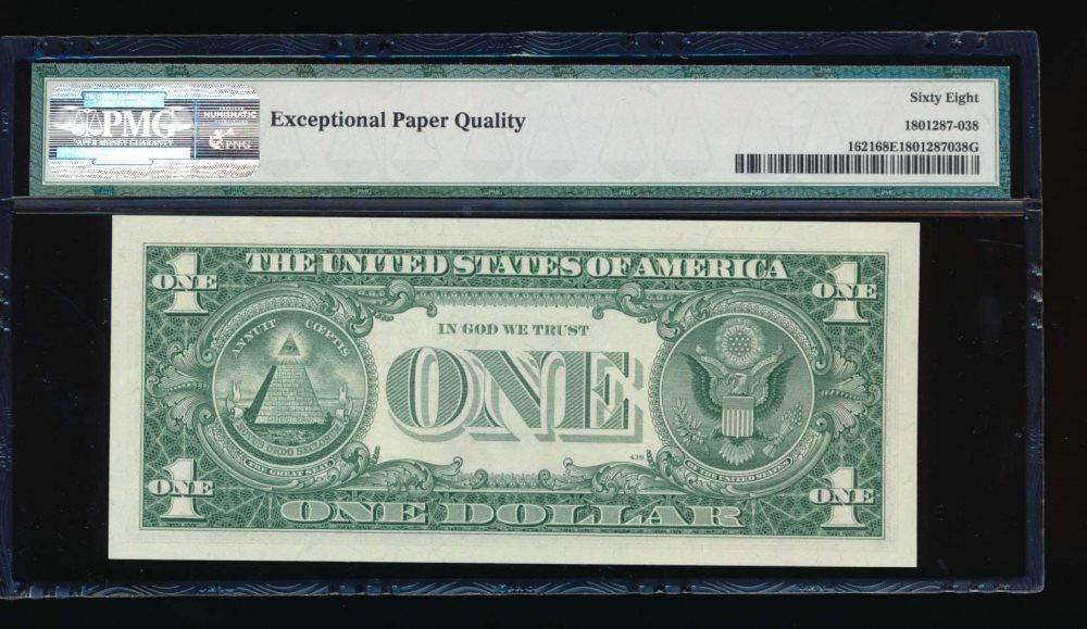 Fr. 1621 1957B $1 Silver Certificate XA block PMG 68EPQ