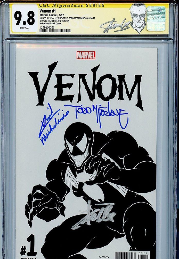 Venom Vol 3 1 CGC 9 8 SS X3 Todd McFarlane sketch Stan Lee Michilinie  Spider-Man