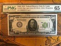 $500 GEM 65 PMG,EPQ 1934 St Louis Fr 2201 H Light Green Seal,GEM,a PEACH & LOWER