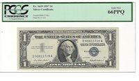1957 FR-1619 Silver Certificate GEM-NEW D-A block PCGS 66 PPQ