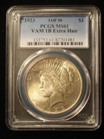 $1 1923 P Silver Peace Dollar VAM-1B Extra Hair MS61 PCGS