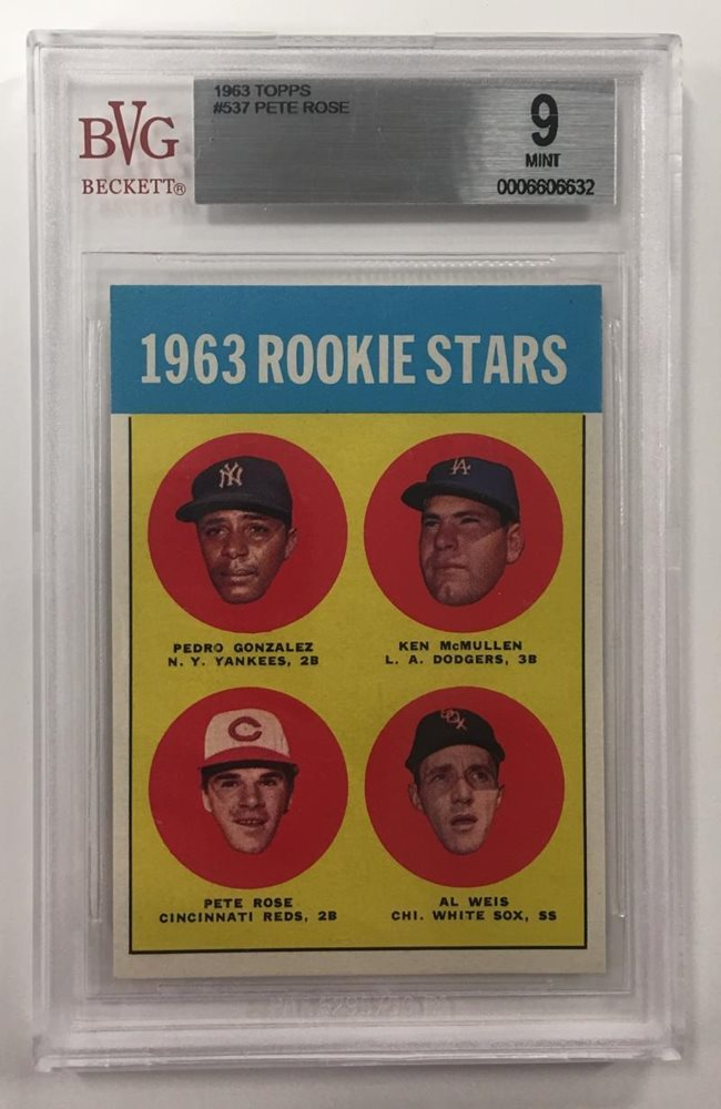 1963 Topps Pete Rose Rookie Card Rc Rookie Stars 537 Bvg Mint 9 Beckett