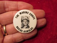 Rare 1960's The Marine Corps Builds Oswalds Button pinback Hippie San Francisco