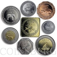 Pemba, set of 8 coins, Fauna, Animals, Elephant, Crocodile, Gazelle, Jaguar 2013