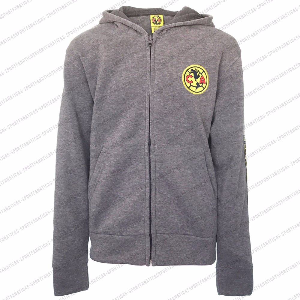online store ca707 3a6cb Club America Zip Up Hoodie Jacket Youth track Gray Big Logo Boy All Sizes