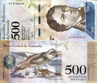 """Venezuela 500 Bolivares Pick #: 94 (c?) 2017 UNCOther New Sign Set Blue Francisco De Miranda; Dolphin; CrestNote 6"""" x 2 3/4"""" South America Francisco De Miranda"""