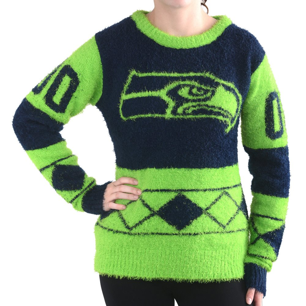 finest selection e0390 ddb1c Seattle Seahawks Women Eyelash Crew Ugly Christmas Sweater Klew NEW
