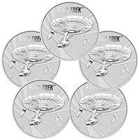 2016 Tuvalu Star Trek Original U.S.S Enterprise 1 oz silver coin in airtite