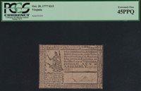 Rare & Choice VA-124 * PCGS XF45 PPQ * $2/3 Oct. 20, 1777 Virginia Colonial Note