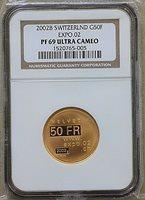 2002B Switzerland, 50 Francs, Gold, NGC PF 69 Ultra Cameo, Expo 02