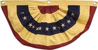 "American Flag Bunting Yellowed/Aged Look Large 30""x59"" ~ 3 grommets Patriotic"
