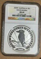2009 - P AUSTRALIA SILVER $1 KOOKABURRA NGC MS69