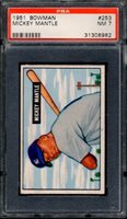"1951 BOWMAN #253 MICKEY MANTLE PSA 7 NM RC Rookie HoF ""HOT CARD"" (8982)"