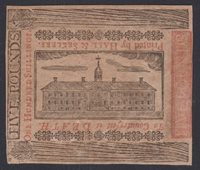 """WorkHouse"" PA-176 *** PCGS AU58 PPQ *** £5 April 10, 1775 Pennsylvania Note"