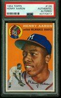 1954 Topps HANK AARON Rookie Milwaukee Braves PSA Authentic Altered