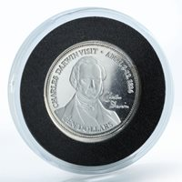 Cocos Islands 10 dollars Charles Darwin april 2-12 1836 proof silver coin 2003