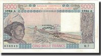5000 Francs 1986 West African States Banknote, Km:108ao