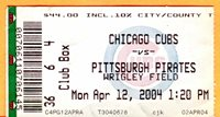 4/12/04 CUBS OPENING DAY TICKET STUB-PIRATES