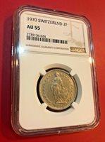 1970 SWITZERLND 2 F COIN NGC AU 55