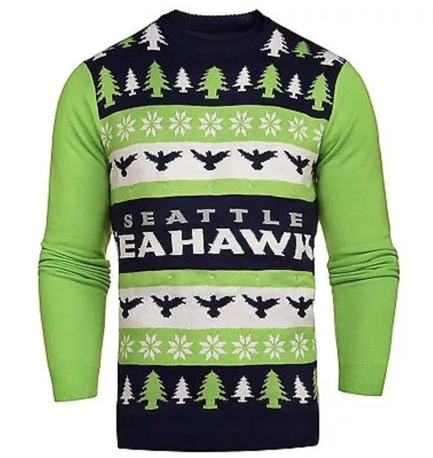 wholesale dealer e9264 a083f NWT NFL Seattle Seahawks Light 'em Up Men's Christmas Ugly Sweater Lights