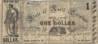 """Raleigh State of North Carolina 1861 $1 24 Unl Unl Unl Printed on the backs of former NC Bank Notes and overprinted with a large block serif """"ONE DOLLAR"""" and preprinted with a date of October 1st, 1861, this example has irregularly sized full margins with centering shifted toward the right Ch F+"""