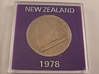 New Zealand Cased Commemorative One Dollar 1978 - opening of parliament