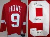 c623eff3d98 Gordie Howe Autographed Signed Detroit Red Wings Red Custom Jersey with Mr.  Hockey and Hall