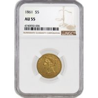 1861 $5 Liberty Head Half Eagle Gold NGC AU55