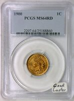 1900 No Mintmark Indian Head Cent MS-64 RD PCGS