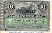 1896 Banknote Kuba , 10 Pesos Schein in kfr P 49 b ? Banco Espanol de isla de Cuba