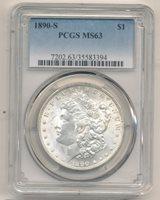 1890 S DOLLAR PCGS 63