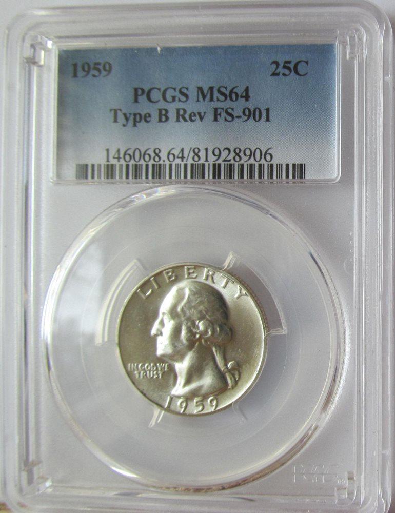 Details about  /1959 Washington Silver Quarter PCGS MS64 Type B Reverse FS-901