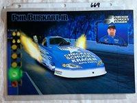 Phil Burkart JR & Del Worsham Signed NHRA Checker Kragen Photo Foldout N 669