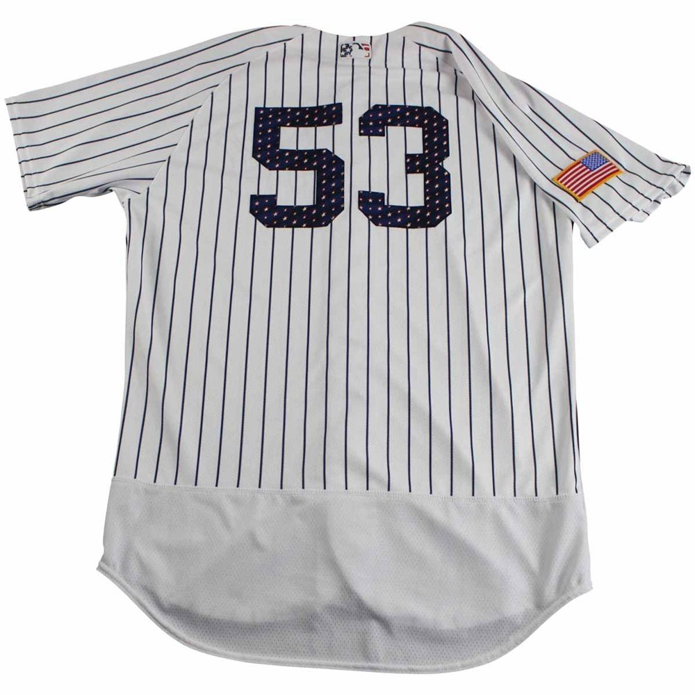 promo code 464ad 6b7ee Joe Espada New York Yankees Game Used #53 Fourth of July Pinstripe Jersey  and Hat Set (7/4/2017)