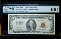 1966 $100 UNITED STATES NOTE ✪ PMG 66-EPQ ✪ LEGAL TENDER US PPQ FR 1550◢TRUSTED◣