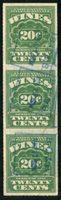 Scott RE69 1933 20c light green B.C. S (Benjamin Cribari Sons) blue boxed h/s, vertical strip of three, VF crease in center stamp
