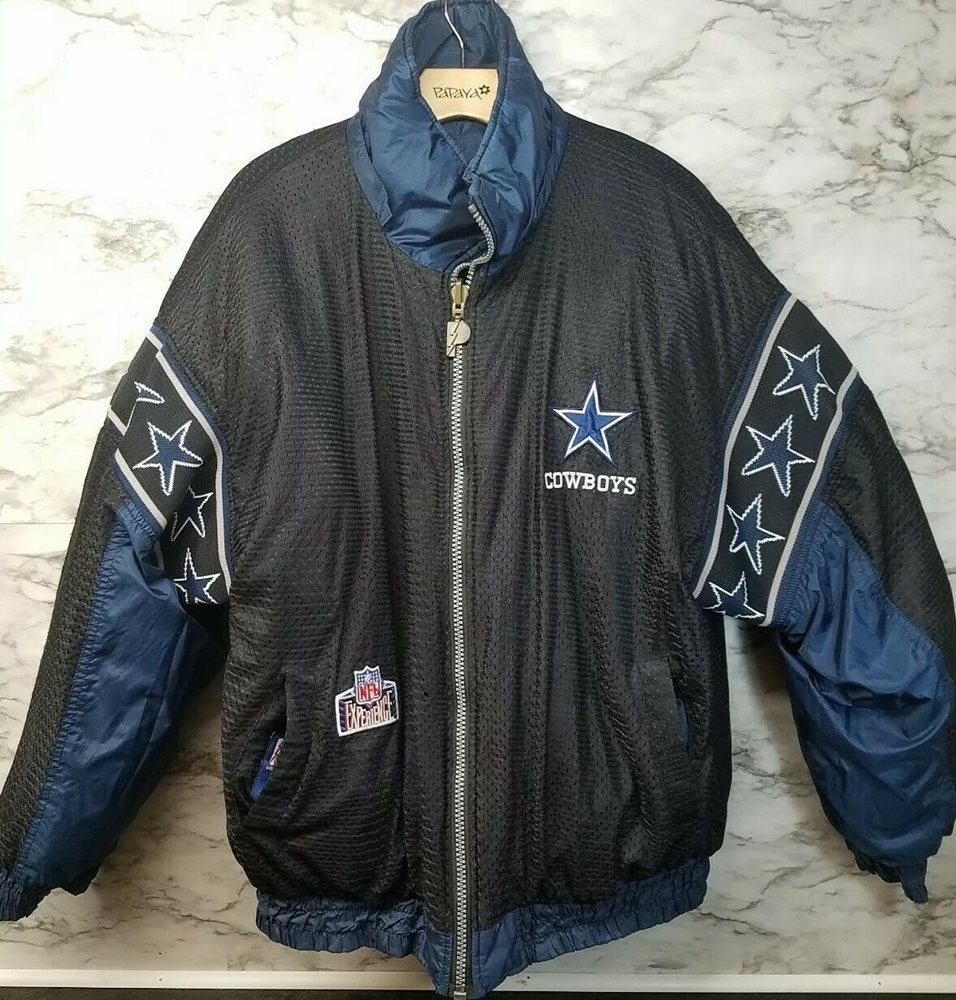 new style 7444b bf2b9 Vintage Dallas Cowboys Jacket Pro Player Mens Size L Reversible 2 Side RARE  30